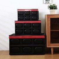 الملابس الأحذية الجوارب المنظم 55L قابلة لطي البلاستيك تخزين مربع دائم تكويم قابلة للطي فائدة صناديق مع غطاء أسود اللون