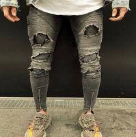 Dropshipping Knee Strappato Jeans Uomo Super Skinny Caviglia Zipper Jeans Jeans Elastico Pant Designer Brand Brand Abbigliamento strada