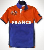 Globale Männer Country Flag Polo Shirts Big Pony Stickerei Cotton Frankreich / Japan / Mexiko / SUI / Norwegen / Deutschland / Spanien / Russland Fashion Männlich Polos