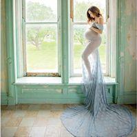 Larga maternidad fotografía accesorios Vestido de embarazo Vestidos de maternidad para fotos con fotos vestido de embarazo vestido de encaje maxi vestido