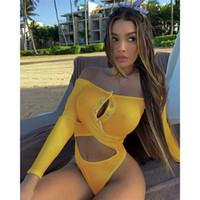 Dame Badeanzug Strand Bademode Weibliche Aushöhlen Kleidung Frauen Slash Neck Bikini Sommer Feste