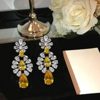 Plateó los pendientes de la borla del diamante amarillo de 18 quilates de oro blanco pendientes para las mujeres exagerada brillantes del partido regalo de las mujeres pendientes