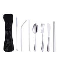 Cuchara portátil Tenedor Cuchillo Cuchillo Set 7 Unids / set 4 Unids / set Juego de vajilla de acero inoxidable Juego de vajilla de viaje Vajilla con bolsa BH1524 TQQ
