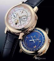 탑 판매 남성 시계 자동 태엽의 기계식 비즈니스 바늘 6 개 바늘 스카이 달 가죽 PP 남자 시계 남자 시계 손목 시계 무료 배송