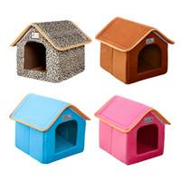 Pliable Pet House Bed Nest avec Tapis Doux D'hiver Chien Canapé Canapé Coussin House Chenil Nid Chiens Chat Lit Pour Petit Chien Moyen