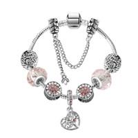 17-21 cm Charm Bracelet 925 Pulseras de plata Árbol de vida Colgante Charms Bangle Bangle Cadena de serpiente como regalo de Navidad Accesorios de joyería DIY