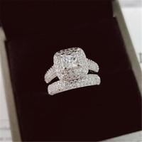 Vecalon 188pcs Topaz simulato diamante della CZ dell'oro bianco 14Kt riempito 3-in-1 fidanzamento Wedding Band Ring Set per le donne SZ 5-11