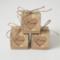 黄麻布の箱のロマンチックな心クラフトギフトバッグのギフトバッグギフトボックスを供給5x5x5cm