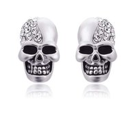 New Crystal Rhinestone Punk Skull Crystal Stud Earrings For ...