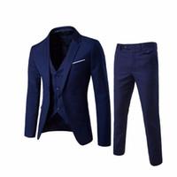 Herren-Jacken-Hosen-Weste-Hochzeitsanzug Männer Blazer Slim Fit Anzüge männlich Kostüm Geschäft-formale Partei Blue Classic Schwarz
