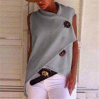 Tişörtleri Katı Renk Tasarımcı Moda Kısa Kollu Gevşek Kadınlar Yaz Bayan Moda Tees Düzensiz Düğme Womens Tops