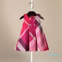 Nova chegada meninas de verão mangas vestido quente venda 5 cores de alta qualidade algodão bebê crianças grandes vestidos xadrez.