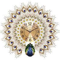 Часы Павлин Часы настенные Гостиная Главная Мода Стенные часы украшения часы Творческий Бесшумный Кварцевый 20 дюймов