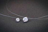Мода дизайн Невидимый рыболовной леске камень ожерелье стерлингового серебра 925 CZ циркон Прозрачная линия Рыбалка провода Choker Подвеска