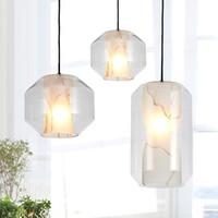 2021 Basit Post-Modern Cam İmitasyon Mermer Kolye Işık Yaratıcı Yatak Odası Cafe Bar Restoran LED Işıkları 1/2/3 NEAK Ücretsiz Kargo