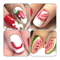 1pcs Summer Harajuku Element Fruit Retro Cake Lace Water Transfer Nail Art Sticker Decal Slider Manicure Tool