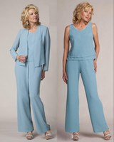 Custom Made Sexy Light Blue Mother Of The Bride Suits Pant Elegant Formal Vestidos Plus Size Simples Vestidos PD4028