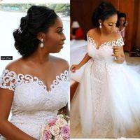 African Nigerian volle Spitze Mermaid Brautkleider 2020 Sheer mit kurzen Ärmeln Tulle Applique Braut Brautkleider mit über Röcke BC2794