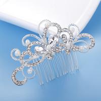 Venta caliente de la joyería nupcial del peine del pelo de la flor del Rhinestone Tiaras Accesorios para el cabello espumosos novia peina Cascos