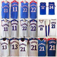 Kansas Jayhawks Wilt Chamberlain Jersey 13 Erkek Koleji Joel Embiid 21 Paul Pierce 34 Andrew Wiggins 22 Josh Jackson 11 Üniversitesi Mavi Beyaz