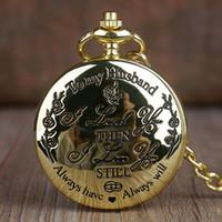 Grand cadeau à mon mari Quartz montres de poche Mode Casual Fob Chaîne Montre De Poche Meilleurs Cadeaux pour amant mari fob montre