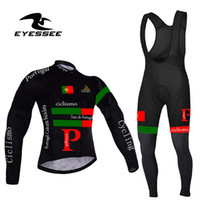 مهنة الرجال البرتغال ركوب الدراجات جيرسي مجموعة / الخريف Eyessee الفريق عالية الجودة ركوب تنفس الملابس طويلة الأكمام دراجات