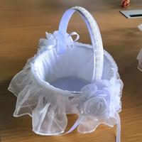 سلة زهرة الزفاف البيضاء مع ساتان أنيق جولة و وردة الوردي زهرة فتاة سلال الزفاف تفضل الديكور H5634