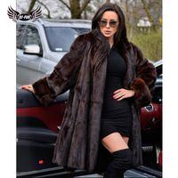 Kadın Kürk Faux BFFUR 2021 Varış Kadın Kış Coat Gerçek Ceket Bayanlar Rahat Gotik Punk Stil Destek Özelleştirme Deri
