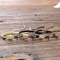 Плетеный браслет унисекс - браслеты ручной работы браслеты с ракушками морских звезд Большой серфер гавайский стиль ювелирных изделий регулируемый для лета и пляжа