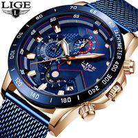 2019 LIGE New Mens Casual montre pour homme Montres Quartz Date Chronographe Sport Mode Bleu Mesh Ceinture Montre Relojes Hombre