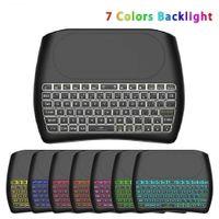 2,4-GHz-mini drahtlose Tastatur D8 7 Farben-Hintergrundbeleuchtung Air Mouse Touchpad-Controller für Android TV Box PC