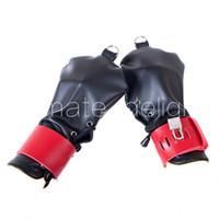 Negro Rojo Cordón Ajustable Con Llave Guante Sin Dedos BDSM Puño Bondage Manos Restricción Gear Kit de Posicionamiento Sexual Envío gratis