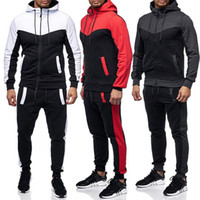 Men' s Casual Zipper Tracksuits Fashion Patchwork Hit Co...