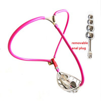 Pink Invisible Male Adjustable Stainless Steel Wire Chastity...