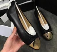 Chaussures plates de luxe Ballerines Diamant Treillis Ballerines en cuir véritable.