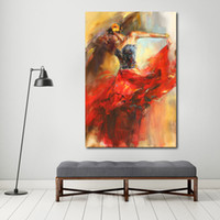 1 Pcs Paintings On Canvas Red Dress Ballet Dancer Modern Wal...