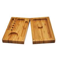 Backlplip Wood Rolling Relleno Bandeja Papeles Atrás Flip Accesorios Fumadores magnéticos Tabaco Bambú Caja de madera única doble capa