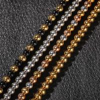 4 мм 6 мм 4 цвета парней классический золотой католицизм бусины ожерелье цепи для мужчин и женщин из нержавеющей стали хип-хоп цепи ювелирных изделий для продажи