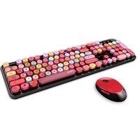 50pcs Combos Creative 2.4G Tastiera wireless Tastiera wireless Set Game multicolore per Desktop Computer Notebook Tablet PC PC TV Forniture per ufficio