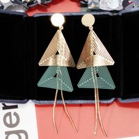designer jewelry double triangle pendant earrings hollow out triangle tassel earrings for women simple hot fashion