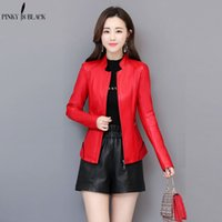 PinkyIsBlack Womens Leather Jacket Casual Short Faux Leather Coat Female Plus Size Spring Autumn Stand Collar Motorcycle Jackets