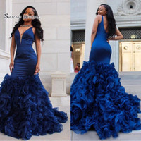2019 Blue Mermiad Evening Gowns With Deep V Neck Ruffled Sle...