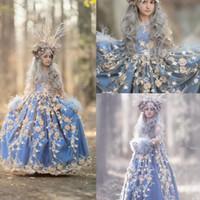 Azul Girls Pageant Vestida Jóia Pescoço 3D Floral Princesa Aplicada Crianças Formal Vestuário De Vestuário De Manga Longa Festa Dos Vestidos De Aniversário
