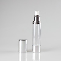Yuvarlak lüks havasız şişe plastik kozmetik kap 50 mi, pompa 50 ml plastik kozmetik losyon şişe boşaltın