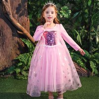 Девочка платье принцессы 2 цвета снежная королева с длинным рукавом юбка Рождество Кружева Пром платье льда снег принцесса Айша юбки Оптовая KJY992