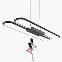 현대 80cm 긴 검은 색 흰색 알루미늄 펜던트 램프 간단한 디자인 홈 오피스 54W LED 아크릴 펜던트 조명기구