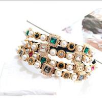Barock Retro Perle Stirnband Diamant Glas Zirkon Hairwear Mode Strass Stirnband Mode Frauen Haarschmuck 4 Farben Großhandel