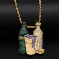Hip Hop Iced Out Sprite Bottle Purple Cup Combo Ciondolo Collana in oro argento Colore cubico Zircone gioielli da uomo