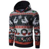 Imcute Herren-Winter-warme Weihnachten Hoodie Langarm-Sweatshirt beiläufige Sweatshirt-Mantel-Jacke Outwear