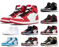أحذية جديدة الزيتون قماش شيكاغو 1 1S النساء الرجال لكرة السلة لعبة الظل الملكي UNC TOP 3 لدت المحظورة المدربين الرياضية حذاء رياضة حجم 36-47